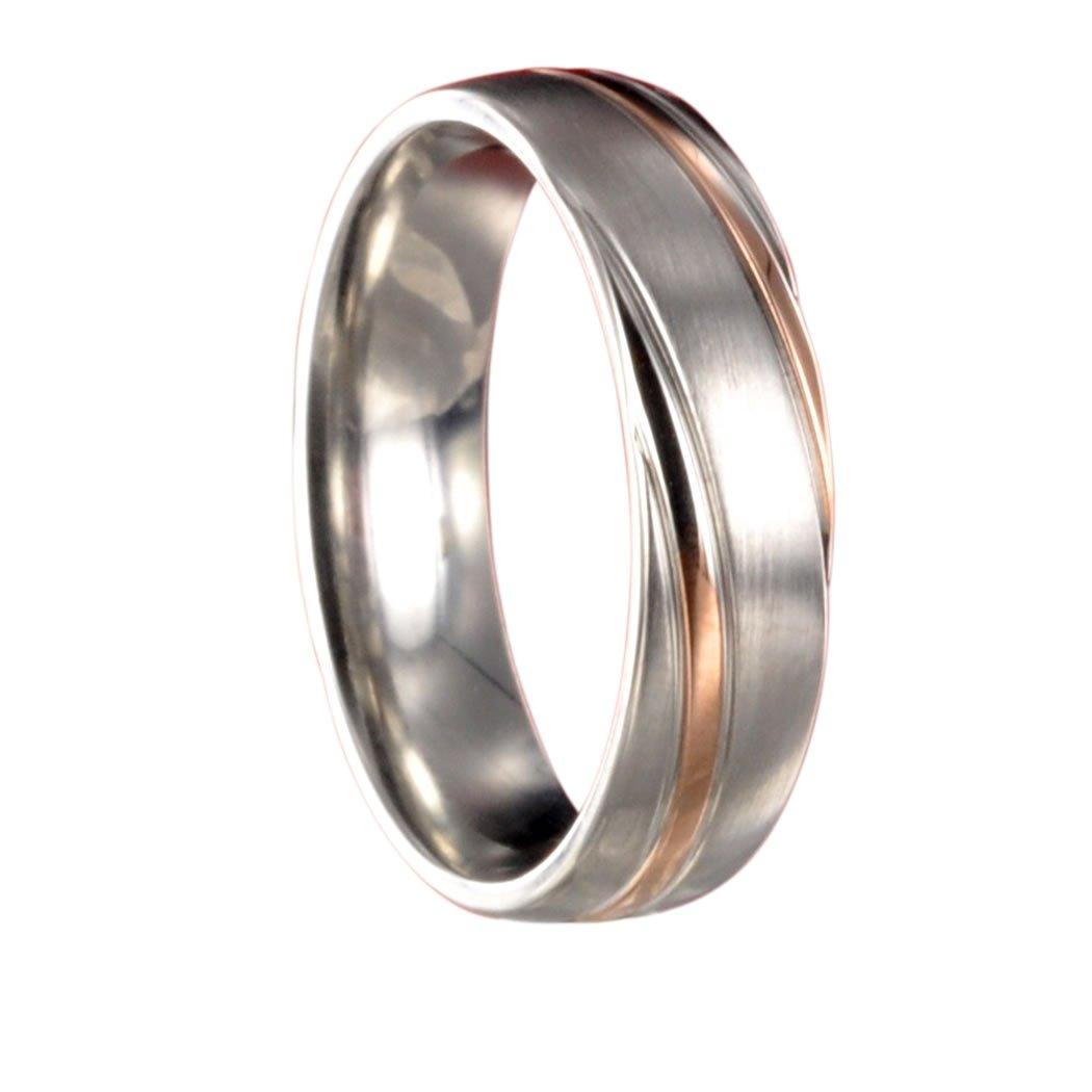 Edelstahl L316 rosegold//silber Partnerring Ehering Trauring X10180