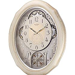 Rhythm Magic Motion Musical Clock - Ivory Cottage - (Micro Fiber Cloth Incl.)
