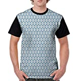 Women's Short Sleeve Shirts,Ikat,Nautical Inspired Abstract Geometrical Shapes Rhombus Lines Squares Pattern, Blue Beige White S-XXL Tops for Lady Girls