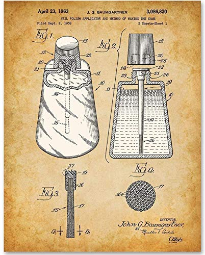 Nail Polish Applicator - 11x14 Unframed Patent Print - Great Gift for Bathroom Decor