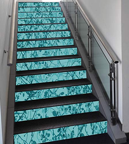Stair Stickers Wall Stickers,13 PCS Self-adhesive,Teal,Ink Drawing Inspired Intertwined Tree Branches Buds and Leaves in Abstract Design Decorative,Teal Turquoise,Stair Riser Decal for Living Room, Ha -  HongKong Fudan Investment Co., Limited, HFLY_LTT02088K100XG18X13P