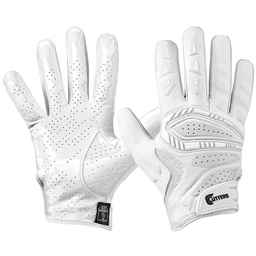 Cutters S652 Gamer 3.0 Padded Receiver Glove-Adult: X-Large-WHITE/WHITE (Cutter Grip)