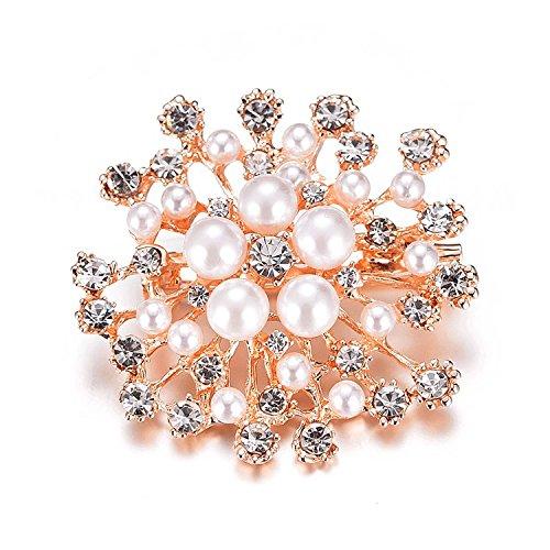 (Brooches Vintage Brooch Pins Austria Crystal Imitation Pearl Flower Brooch Wedding (Gold))