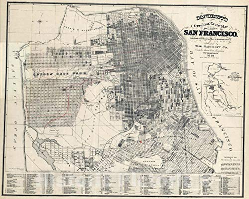- Historic Map | Guide Map of City And County of San Francisco, 1891 | Vintage Wall Art | 30in x 24in