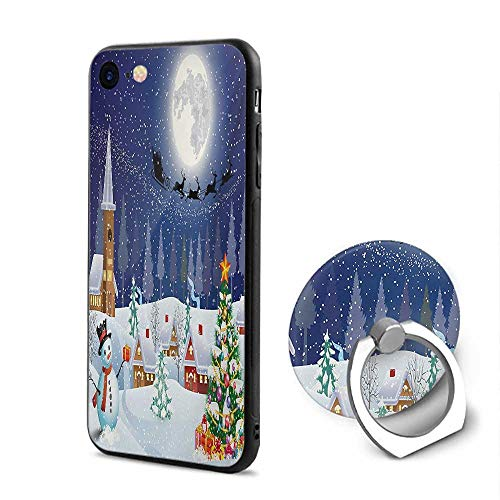 (Christmas iPhone 6/iPhone 6s Cases,Winter Season Snowman Xmas Tree Santa Sleigh Moon Present Boxes Snow and Stars Blue White,Mobile Phone Shell Ring Bracket)