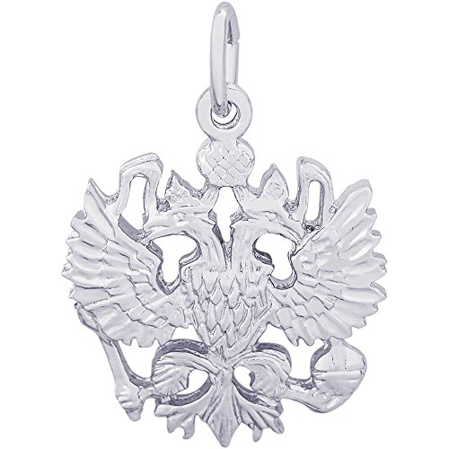 Rembrandt Charms 14K White Gold Russian Eagle Charm on a 14K White Gold Box Chain Necklace, 20'' by Rembrandt Charms (Image #1)