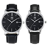 AIBI Couple Lovers' Elegant Classic Analog Quartz Black Wrist Watches With Date
