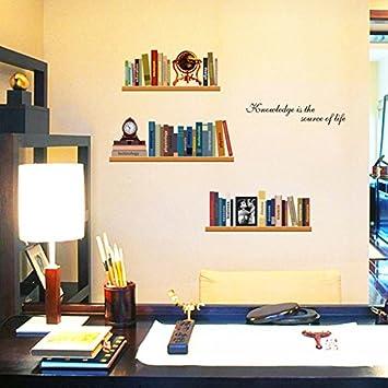 Amazoncom Elegant Study Imitation Bookshelves Books Clock Vinyl - Vinyl wall decals books