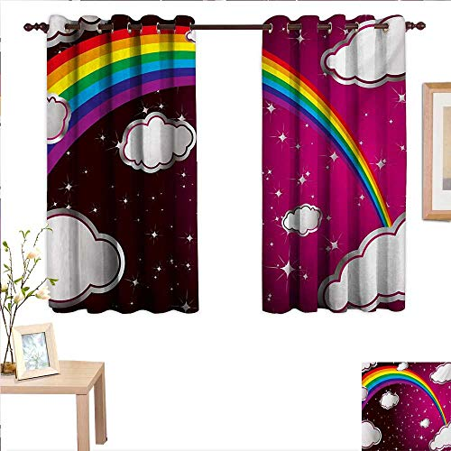 Cartoon Drapes for Living Room Rainbow Image with Colors Star Like Details for Kids Nursery Room Artwork 55