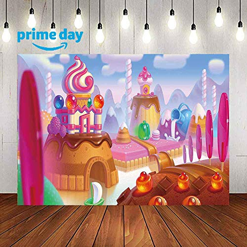 Chocolate Ice Cream Wonderland Backdrops for Photography, 9x6FT, Desserts Milk Castle Photo Backgrounds, Baby Session Children Birthday Party Banner Backdrops, Studio Props LUP528 ()