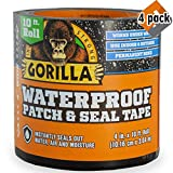 "Gorilla 4612502 Waterproof Patch & Seal Tape 4"" x 10' Black, Pack 4"