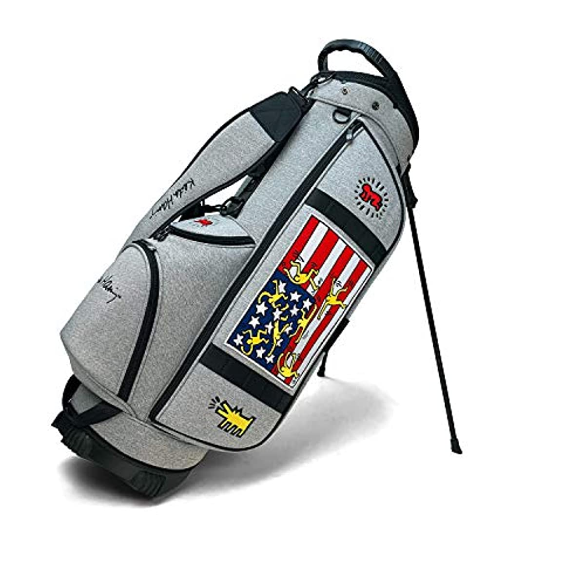[해외] 키스해링 골프 스탠드캐디백 AMERICAN FLAG × STAR 라이트그레이 9인치(47인치 대응) KHCB-05