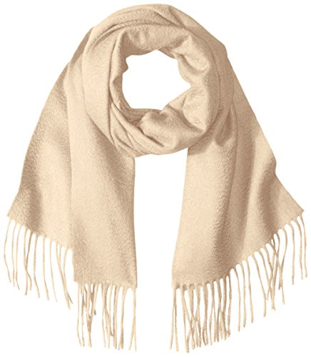 Sofia Cashmere Women's 100 Percent Cashmere Woven Scarf with Fringe, Natural, One by Sofia Cashmere