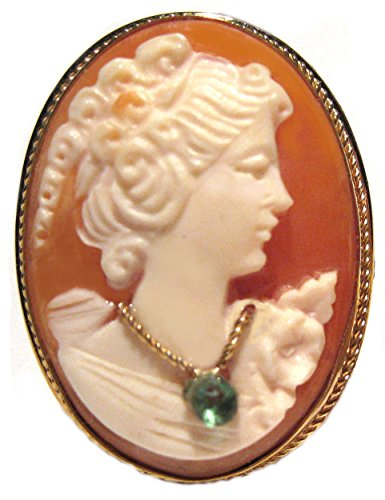 Brooch 18k Cameo (Cameo Brooch Pendant Master Carved, Shell Sterling Silver 18k Gold Overlay Emerald Necklace Italian)
