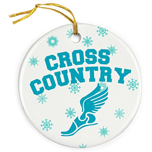 Gone For a Run Cross Country Porcelain Ornament Cross Country With Winged Foot (Runner Christmas Ornament)