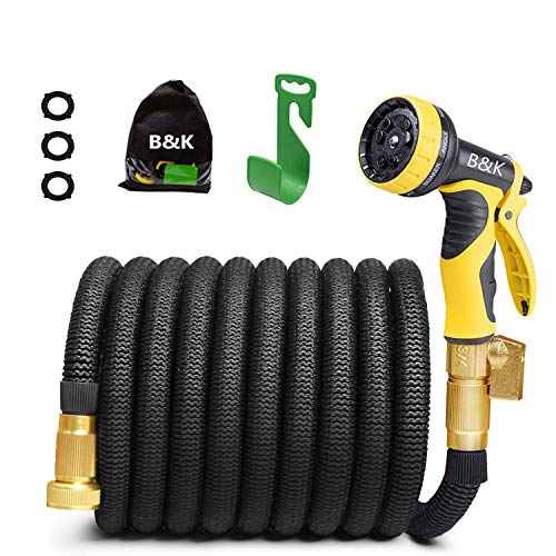 Blue Self Coiling Hose - Garden Hose, Lightweight Expandable Water Hose Set, Outdoor Expanding Flexible Double Latex Core Yard Hose with 3/4 Solid Brass Fitting, 9 Functions Spray Nozzle and Hanger (50ft)
