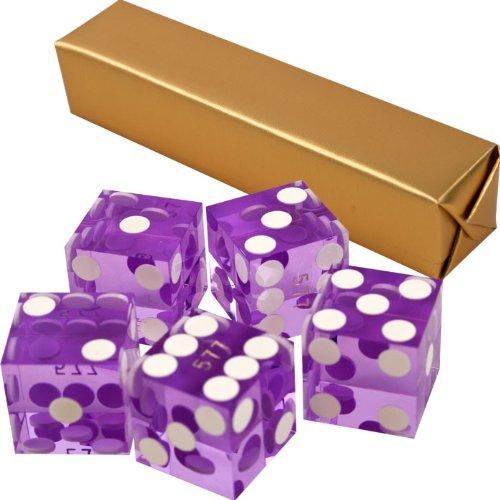 Stick of 5 Purple/Violet Precision Casino Razor Edge Craps Dice - Comes with 5 Standard Bonus Dice! by TMG