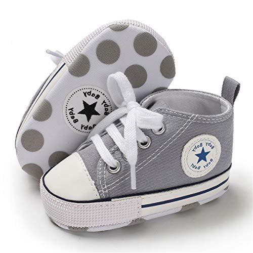 BENHERO Baby Girls Boys Canvas Shoes Toddler Infant First Walker Soft Sole High-Top Ankle Sneakers Newborn Crib Shoes (0-6 Months M US Infant, A-Grey