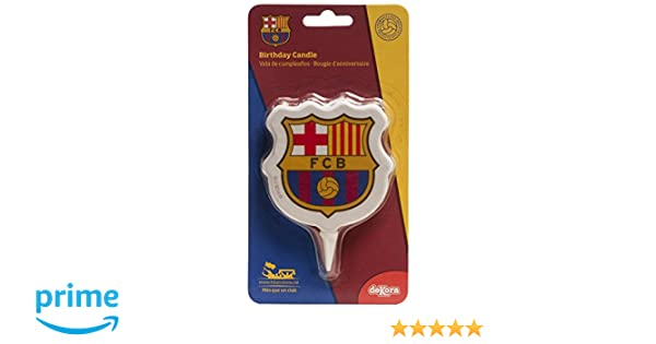 dekora 346136 Vela de Cumpleaños 2D Escudo FC Barcelona, Cera, 8x2x12 cm