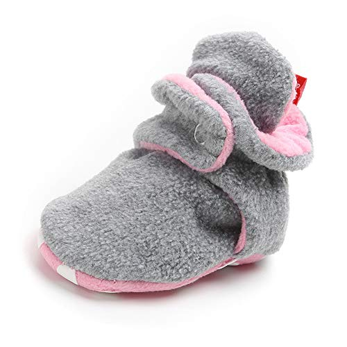 (Sawimlgy Baby Boys Girls Warm Fleece Ankle Booties Soft Sole Shoes Grippers Slippers Prewalkers Frist Birthday)