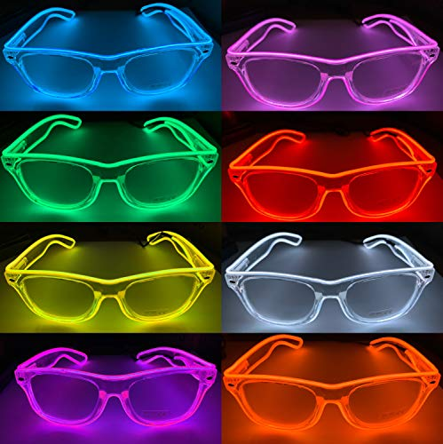 Moonideal LED Light Up Glasses Twinkling with Music Beats El Wire DJ Party Glasses 4 Different Mode Lighting Controller