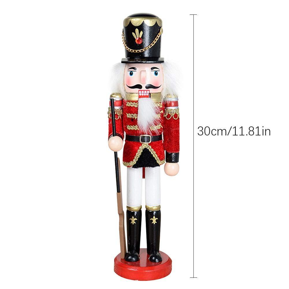 Binwe Soldato Schiaccianoci di Legno Burattino Bambola Decorazione di Natale Figure Ornamento Albero Regalo