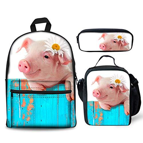 Pig Hanging On Fence Backpacks Set 3 Pieces Lunch Bag Pen Bag for Kids Back to School Lightweight Daypack for Boys Girls