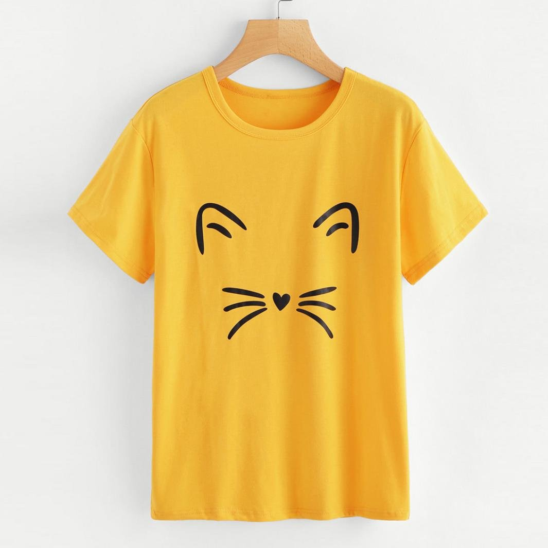 HARRYSTORE Women T-Shirt Tops Fashion Casual Short Sleeve O-Neck Cat Printed Summer Tops