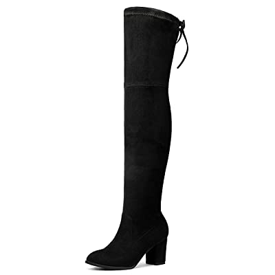 Kitulandy Women Over The Knee Boots Stretchy Thigh High Long Shoes Chunky Heels | Boots