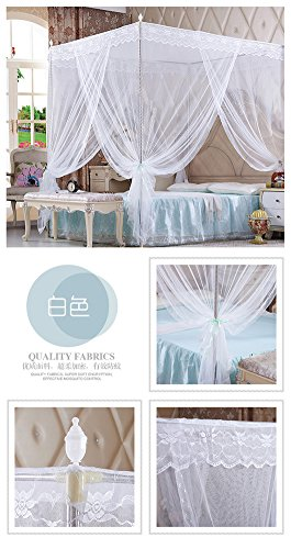DE&QW Pink court four corner post mosquito net bed canopy, Three-doors Princess Encrypted tulle mosquito curtain-White Queen2 by DE&QW