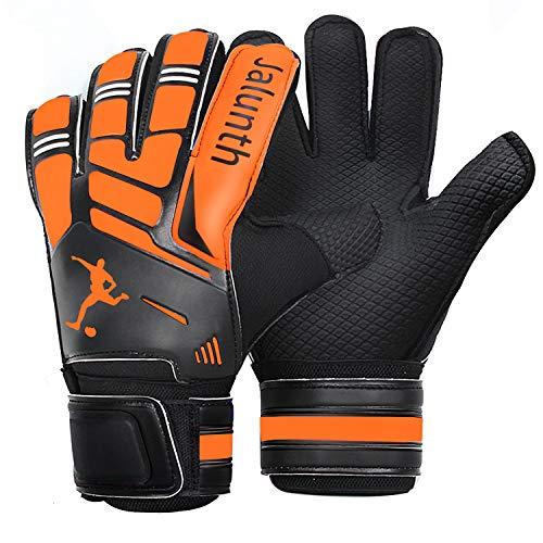 Jalunth Goalie Goalkeeper Soccer Gloves for Kids Youth Adults Goal Keeper Gloves with Fingersave (Orange, 7)