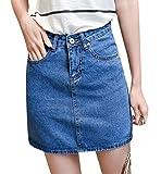 Enlishop Women's Summer High Waisted A-Line Slim Bodycon Short Mini Denim Jean Skirt Blue