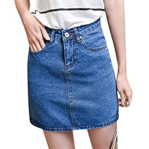 Enlishop Women's Summer High Waisted A-Line Slim Bodycon Short Mini Denim Jean Skirt
