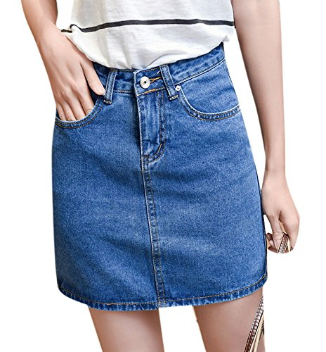 Enlishop Women's Summer High Waisted A-Line Slim Bodycon Short Mini Denim Jean Skirt
