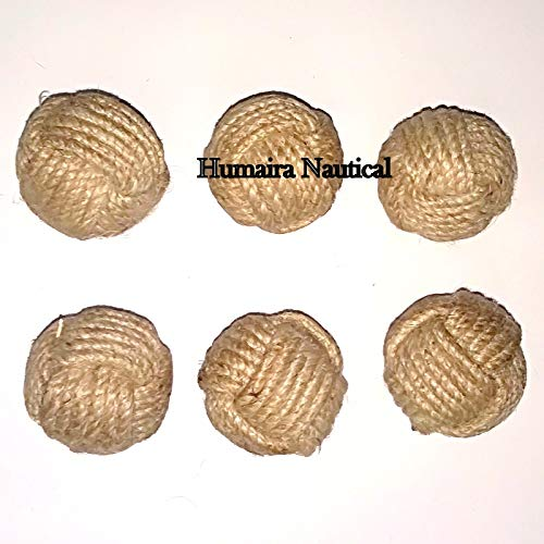 (Humaira Nauticals Decoration Big Nautical Rope Ball/Set of 6 Jute Rope Balls/Nautical Bowl Filler/Beach)