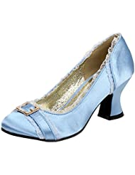 Womens Chunky Heel Pumps Satin Shoes Round Toe Blue Ivory Pink 2 1/2 Inch Heels