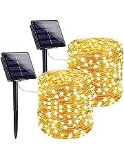 Luzes de Corda Solares Ao Ar Livre, BCXAXA 2 Pack 10M 100 Led Solar Powered Luzes de Fada com 8 Modos Luzes de Fio de Cobre à Prova D'água Para Interior Externo Pátio Quintal árvores Decoração de Festa