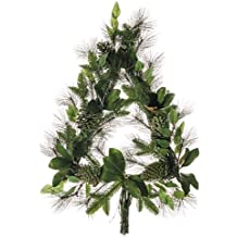 """30"""" Artificial Tree-Shaped Mixed Pine, Magnolia Leaf & Pinecone Hanging Wreath -Green/Brown"""