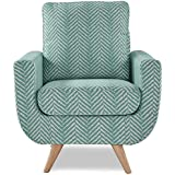 Homelegance Deryn Arm Chair with Tufted Back, Teal Herringbone Fabric
