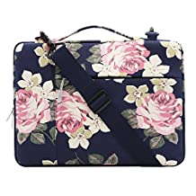 Mosiso Rose Multifunctional Shoulder Bag for 11.6-13 Inch MacBook Air, 2017/2016 MacBook Pro, Microsoft Surface Pro 2017, Surface Pro 4/3, iPad Pro 12.9 Canvas Laptop Messenger Case Sleeve, Dark Blue