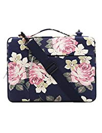 Mosiso Rose Multifunctional Shoulder Bag for 11.6-13 Inch MacBook Air, MacBook Pro 2016 & 2017, Surface Pro 2017, Surface Pro 4/3, iPad Pro 12.9 Canvas Laptop Messenger Case Sleeve, Dark Blue