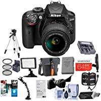 Nikon D3400 DX-Format DSLR Camera Body with AF-P DX NIKKOR 18-55mm F/3.5-5.6G VR Lens - Black - Bundle with 64GB SDXC Card, Camera Bag, Spare Battery, Tripod, Video Light, Software Package, More