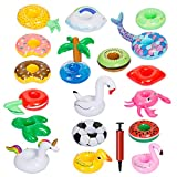 GWHOLE 18 Pcs Inflatable Drink Holder with Free Air Pump, Inflatable Cup Coasters Swim Drink Floats Cup Holders Swimming Flotation Devices for Summer Party Pool Water Fun Kids Bath Shower Toys
