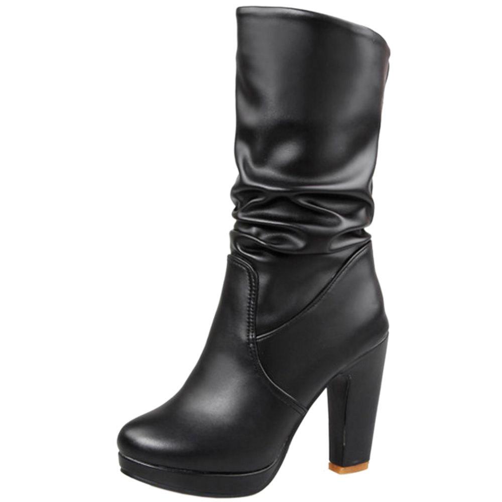 RAZAMAZA Damen Mode Mid Calf Slouched High Heel Stiefel Black