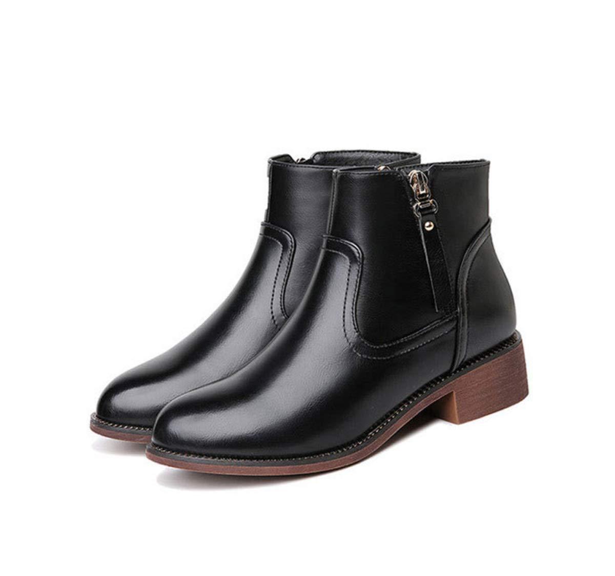 DANDANJIE Damen Stiefel mit niedrigen Ferse Zipper Ankle Stiefel britischen Stil Martin Stiefel für 2018 Herbst Winter