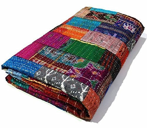 queen size patchwork silk kantha quilt 90x108 inch silk bedcover indian silk patola quilt throw. Black Bedroom Furniture Sets. Home Design Ideas