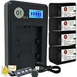 DOT-01 4x Brand 2400 mAh Replacement Sony NP-FH70 Batteries and Smart LCD Display Charger for Sony A290 Digital SLR Camera and Sony FH70 Accessory Bundle