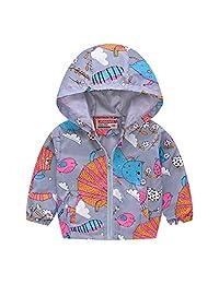 Kid Baby Boy Dinosaur Hooded Zip Jacket Coat Windproof Casual Outerwear