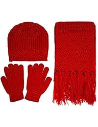 Women's 3 Piece Winter Set - Knitted Beanie, Scarf, & Gloves