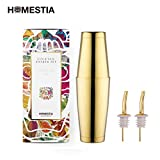 Homestia Boston Cocktail Shaker set Bar Tool 2-piece 18.6oz+25oz with 2 Gold Bottle Spout, Gold